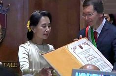 On a trip to Italy for an audience with Pope Francis, Myanmar opposition leader and Nobel prize laureate Aung San Suu Kyi finally became an honorary citizen of Rome on Sunday, 19 years after being awarded the honor ... and she met the Pope too!  Read more: http://www.digitaljournal.com/article/361125