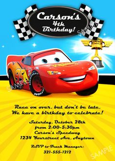 Disney Cars Invitation for Birthday Party - Printable File