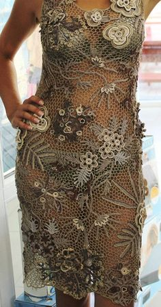 crochet irish lace dress @roressclothes closet ideas #women fashion outfit #clothing style apparel handmade