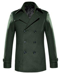 Cool Forest Green Mens Wool Pea Coat by 58soufun.com.  http://www.58soufun.com/mens-style/fashionsection/menstrends/mens-winter-coats-cool-forest-green-mens-wool-pea-coat-by-58soufuncom-p-1244.html