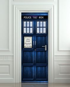 "Door STICKER Tardis Doctor Dr Who Police box movie magical mural decole film self-adhesive poster 30x79""(77x200 cm). $39.99, via Etsy."