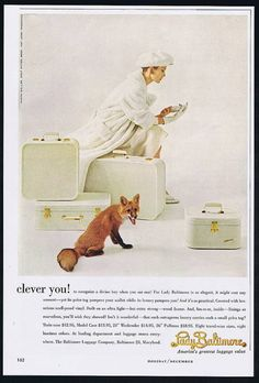 1957 Lady Baltimore Luggage Fox Photo Print Ad | eBay