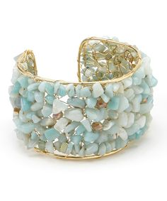 Gold  Blue Chalcedony Chip Stone Cuff