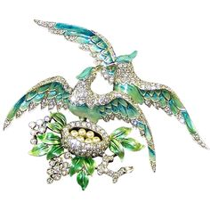 MB BOUCHER Rare, Huge Metallic Enamel & Pave 'Lovebirds on the Nest' Pin