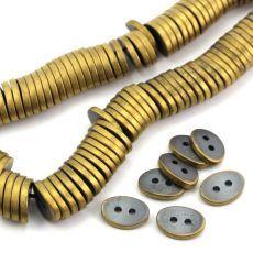 Hematyt guzik owalny grafitowo-miedziany MAT 14x10mm Paisley, Stone, Bracelets, Jewelry, Rock, Jewlery, Jewerly, Schmuck, Stones