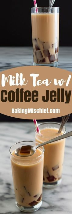 and refreshing milk tea with coffee jelly is so easy to make and fun to drink. Make some and impress your friends. Recipe includes nutritional information. Milk Tea Recipes, Jelly Recipes, Coffee Recipes, Recipe For Milk Tea, Coffee Milk Tea Recipe, Easy Bubble Tea Recipe, Smoothie Drinks, Fruit Smoothies, Homemade Smoothies