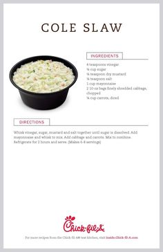 Time is running out for Chick-fil-A's cole slaw. Thank you Chick-fil-A for sharing your recipe with us! I can at least have your cole slaw whenever I want it! Chik Fil A Coleslaw, Chick Fil A Coleslaw Recipe, Chick Fil A Recipe, Kfc Coleslaw, Creamy Coleslaw, Great Recipes, Favorite Recipes, Side Salad, Vegetable Side Dishes