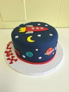 rocketship birthday cake - Created with BeFunky Photo Editor 2 Year Old Birthday Cake, Birthday Fun, Birthday Frames, Rocket Cake, Planet Cake, Birthday Cake Decorating, No Bake Treats, Cakes For Boys, Fondant Cakes