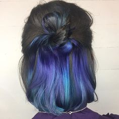 22 Spellbinding Hidden Hair Color Ideas for Women Hair Color Ideas hair color streaks ideas Hair Color Streaks, Hair Color Purple, Hair Color Balayage, Hair Color For Black Hair, Cool Hair Color, Hair Highlights, Teal Hair, Ombre Color, Pastel Purple