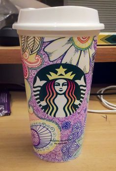 So Starbucks has these dollar reusable cups for sale right now and all the partners got a free one so naturally my first inclination was to doodle the bejesus out of mine. Starbucks Crafts, Starbucks Cup Art, Starbucks Menu, Starbucks Cups For Sale, Coffee Cup Crafts, Coffee Cup Art, Coffee Cup Design, Copo Starbucks, Starbucks Coffee Cups