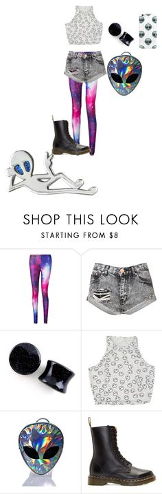 """""""Not from here 👽✌🏻️"""" by pansexual-punk-14 ❤ liked on Polyvore featuring Glamorous, Chicnova Fashion, Disturbia and Dr. Martens"""