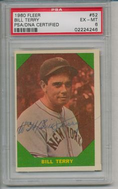 Bill Terry 1960 Fleer 52 Signed Autographed PSA DNA Grade EX MT 6 Card 02224246 | eBay  #billterry #terry #1960 #signedcard #autograph