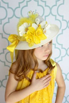 Tea Party Hat Easter Hat Easter Bonnet by AllDressedUpCouture Fascinator, Easter Hat Parade, Daffodil Day, Tea Party Hats, Tea Parties, Flapper, Spring Hats, Bonnet Hat, Pamela