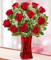 fa3d6d1520f3f Blooming Love Premium Red Roses in Red Vase Costco Flowers