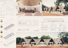 Kaira Looro - International architecture competition for a Cultural Center desing in Sedhiou, Senegal, Africa.  Architectural presentation board. Ecological architecture. Sustainability. Rainwater collection, passive ventilation and composting toilets. By: Yll Mikullovci, Vjosa Grajçevci & Pëllumb Mikullovci