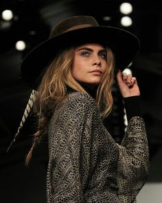 Cara Delevingne models a fedora hat by Piers Atkinson at the Issa Wearing A Hat, Miranda Kerr, Fedora Hat, Cara Delevingne, Fashion Editor, Issa, Evening Dresses, Fashion Beauty, Style Inspiration