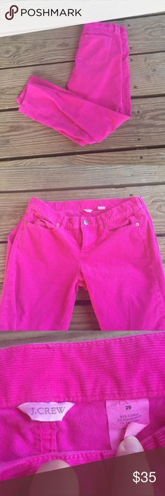 """Pink J.Crew Corduroy Pants J.crew corduroy pants. Size 29. 28"""" inseam.  93% Cotton 6% Elasterell 1% Spandex. Beautiful bright pink Pants that will surely turn heads. No trades. I have added a stock photo for reference! J. Crew Pants Straight Leg"""