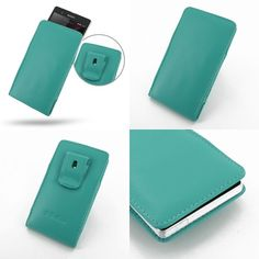 PDair Leather Case for Sony Xperia Z L36H - Vertical Pouch Type Belt Clip Included (Aqua)