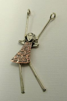 Angel Harley Is Hanging On  Up Cycled Sterling Copper by robinwade