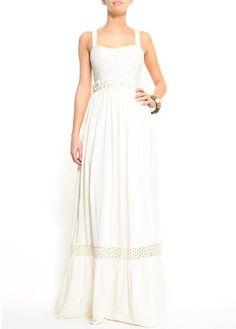 vestido blanco largo mango