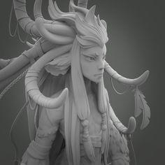 Forest spirit fanart, Res Thoughtless on ArtStation at https://www.artstation.com/artwork/lNE4J
