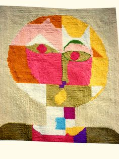Vintage Cubist Needlepoint Face on Net Mesh Based por VintagePickle