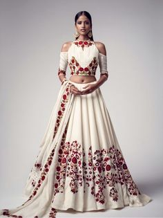 Buy White Floral Embroidered Banglori Silk Semi Stitched Lehenga Choli online in India at best price.Product ID 1075363 Type Lehenga choli Returns 7 day Refund Policy Shipping Available Worldwide Package Indian Fashion Trends, India Fashion, Asian Fashion, Lehenga Designs, Indian Wedding Outfits, Indian Outfits, Indian Attire, Indian Wear, Moda India