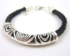 Black Horsehair Bracelet with Silver by NomadEarthDesigns on Etsy