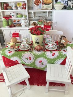 Miniature Dollhouse Cherry Table Setting, Table and 4 Chairs