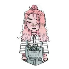 my aesthetic : wild plants in the pockets of denim overalls ☘️ happy weekend lovelies!  ••• #illustration #art #doodle #drawing #girl #tattoos Pinterest :Javi Muñoz