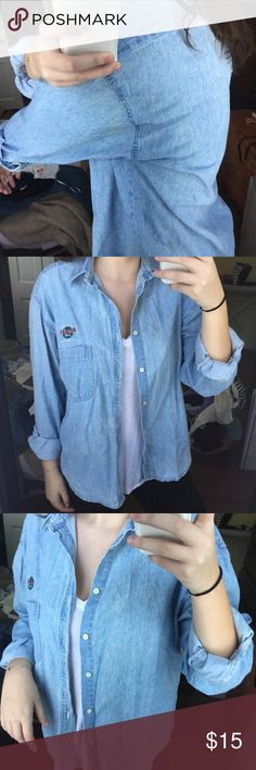 Hard Rock Cafe Denim Button Down Great condition! Some small stains listed in second & third photos but aren't really noticeable when you wear it! Vintage Tops Button Down Shirts