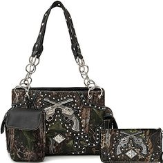 Cowgirl Trendy Western Double Pistol Camouflage Purse Shoulder Bag Handbag Phone Case Wallet Set Black * You can find out more details at the link of the image.