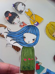 Stickers set of 9 Girls Original hand drawn by DollStop on Etsy, $4.50