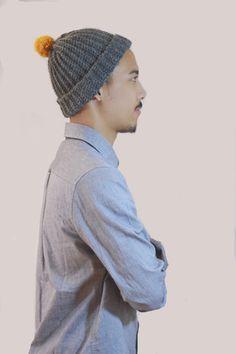 Charcoal Pom Pom Wool Hat. Unisex .crochet