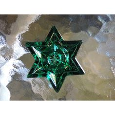 Vintage Green Glass Star Christmas Candle Holders Two Sets of Four... ($40) ❤ liked on Polyvore featuring home, home decor and holiday decorations