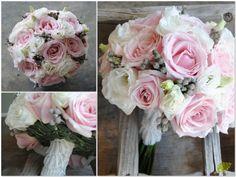 Bouquet de novia vintage en rosa nude, blanco y gris. Mayula Flores