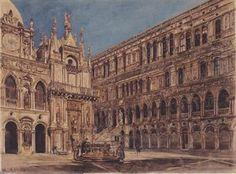 Rudolf Von Alt - Der Innenhof des der Dogenpalast in Venedig