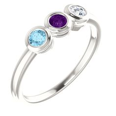 2 to 6 Bezel Set Birthstone Ring in Sterling Silver or White Gold – Sparkle & Jade