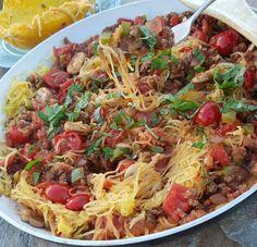 Clean Simple Spaghetti Squash Skillet Recipe http://cleanfoodcrush.com/spaghetti-squash-skillet/