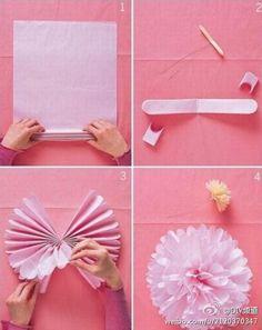 漂亮花球DIY教程,很简单哟 Cool Flower Crafts , Paper Crafts for Teens , paper, craft, flower,wrap, gift, decor,blumen,basteln,bastelvorlage,tutorial diy, spring kids crafts, paper flowers