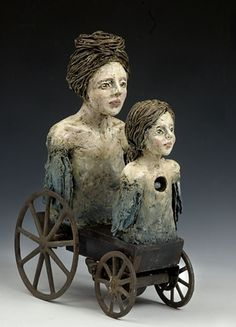 the slow and careful earning of trust, polymer clay, found objects by artist Melissa Farrow Savos