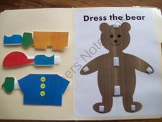 Dress the Bear by LilOwlPrints on TeachersNotebook .com idea could also be used for other things not bears