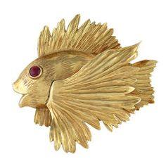 Amusing Large Gold Angel Fish Brooch