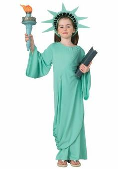 Child Statue of Liberty Costume - Large by Paper Magic Group. $17.99. This Child Statue of Liberty Costume is a stand out from the crowd patriotic expression! Costume includes a headpiece and a dress with drape and it comes in different sizes. Please Note: Costume does not include torch.