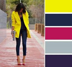 How to combine the color yellow. The yellow color will undoubtedly be one of the . Colour Combinations Fashion, Color Combinations For Clothes, Color Blocking Outfits, Fashion Colours, Colorful Fashion, Color Combos, Cool Winter, Winter Typ, Fashion Mode