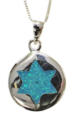 Silver & Opal Star Of David Necklace