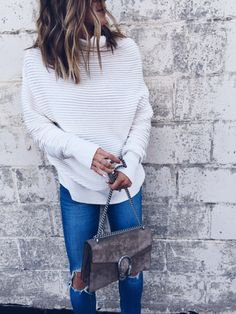 I love the ribbed texture on this slouchy pullover knit. I wore this out for pizza with friends this past weekend and paired with distressed denim and boots - effortless! -Becky @cellajaneblog http://liketk.it/2py1I @liketoknow.it #liketkit
