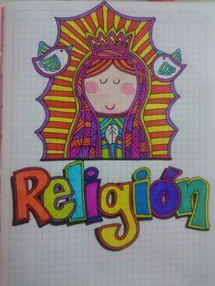 Resultado de imagen para caratulas para religion Notebook Doodles, Notebook Art, School Notebooks, Duck Tales, Anime Girl Cute, School Organization, Cover Pages, School Projects, Art Quotes