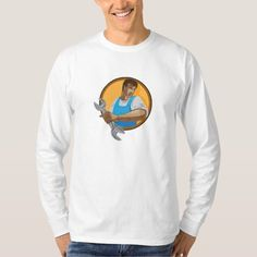 Mechanic Worker Holding Spanner Circle WPA Tees. WPA style illustration of a mechanic worker looking to the side holding spanner wrench set inside circle on isolated background. #illustration #MechanicWorkerHoldingSpanner