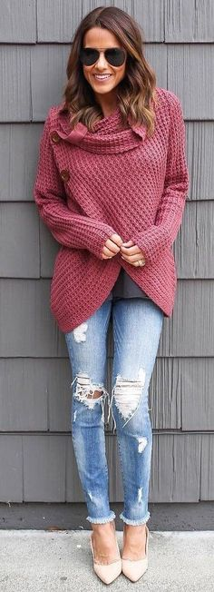 #winter #fashion /  Bordeaux Oversized Knit + Ripped Skinny Jeans